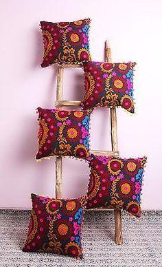 "5 Pcs All India Design Suzani Embroidered Cushion Cover 16x16"" Home Decorative Pillow Cover Case Sofa Decor Boho Bohemian designer cushion by ArtofPinkcity on Etsy"
