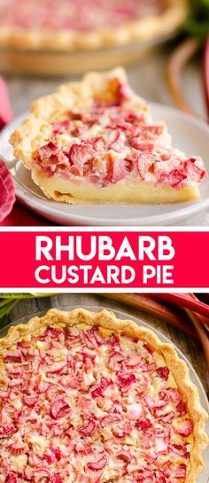 Rhubarb Custard Pie is a decadent dessert recipe perfect for a sweet summer treat. A flaky pie crust is filled with a rich egg custard and tart rhubarb for a classic rhubarb pie you will adore! Köstliche Desserts, Delicious Desserts, Custard Desserts, Rhubarb Custard Pies, Rhubarb Bars, Pie Dessert, Muffins, Baking Recipes, Kitchen Recipes