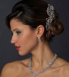Crystal Leaf Antique Silver Bridal Comb! Perfect for your vintage inspired wedding! affordableelegancebridal.com
