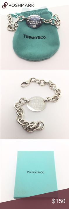 """Tiffany & Co Oval """"Return To"""" Bracelet If you're a fan of all things Tiffany & Co, this is a must have! Oval tag with """"Return to..."""" messaging. Newly polished. Comes with bag and original box. Tiffany & Co. Jewelry Bracelets"""
