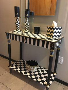 Whimsical Painted Furniture, Painted Console Table, Whimsical Painted Table, Black and white checkered Tablepainted furniture hand painted - Furniture Design Whimsical Painted Furniture, Hand Painted Furniture, Funky Furniture, Refurbished Furniture, Paint Furniture, Handmade Furniture, Unique Furniture, Shabby Chic Furniture, Upcycled Furniture