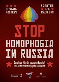 Am Sonntag, den 8. September 2013, finden weltweit Kundgebungen in Solidarität mit Lesben, Schwulen und Transgender-Personen in Russland statt. Auch Wiener AktivistInnen beteiligen sich mit einer Demonstration vor der russischen Botschaft.