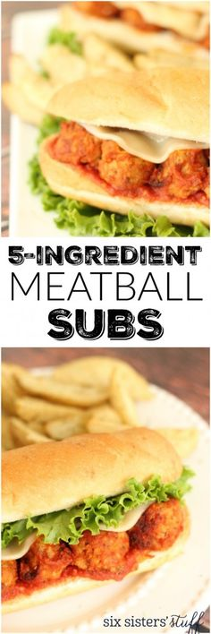 5 Ingredient Meatball Subs - delicious and so easy to throw together! Recipe from Six Sisters' Stuff