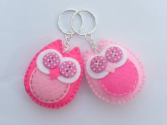 Twit Twoo Pink Felt Owl Keyring x1 by DevonlyCrafts on Etsy, £3.50