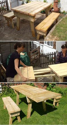 My picnic table woodworking plans Showing Check out picnic table woodworking plans Diy Picnic Table, Diy Outdoor Table, Patio Table, Diy Table, Dining Table, Dining Set, Easy Wood Projects, Diy Furniture Projects, Backyard Projects