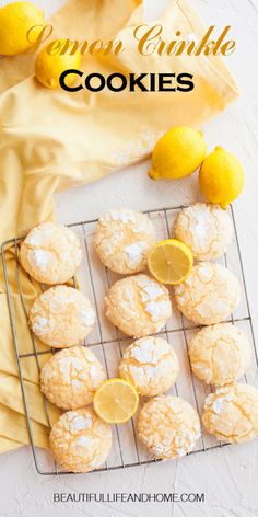 """These addictive Lemon Crinkle Cookies will disappear before your very eyes! Great lemon flavor paired with perfectly sweet cookies. If you love lemon, these cookies are next on your """"to bake"""" list! Lemon Recipes, Sweet Recipes, Baking Recipes, Cookie Recipes, Lemon Crinkle Cookies, Lemon Cookies, Sweet Cookies, Yummy Cookies, Good Healthy Recipes"""