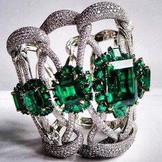 Emerald & Diamond Cuff Bracelet by JAHAN