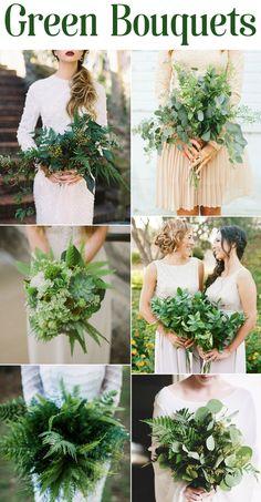 Green Wedding Bouquets #foliage #greenbouquets #weddingbouquets