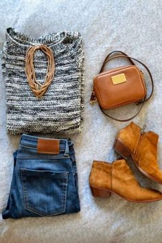 Grey sweather, jeans, brown shoes Outfit♥