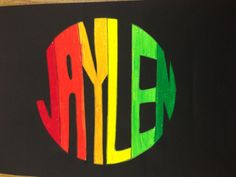 Students choose a shape & warm or cool colors. Name art