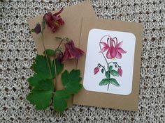 Grüße - Grusskarte -Akelei- - ein Designerstück von LiRaBellus bei DaWanda