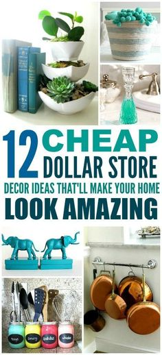 These 12 Dollar Store Decor Hacks are THE BEST! I'm so glad I found these GREAT home decor ideas and tips! Now I have great ways to decorate my home a a budget and decorate on a dime! Definitely pinning!