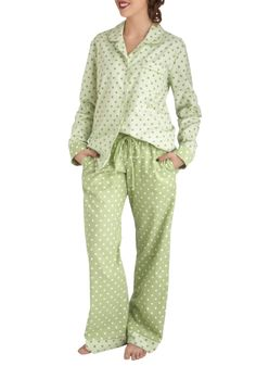 Fashion and Beauty Rest Pajamas in Green - Green, Polka Dots, Pockets, Button Down, Long Sleeve, Collared, Cotton
