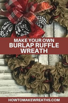 Learning how to make this burlap ruffle wreath is fairly simple. You can make your burlap ruffle and just change out any attachments based on the season. #howtomakewreaths #decoexchange #burlapruffle #wreathtutorial #burlapwreath #diy Valentine Day Wreaths, Easter Wreaths, Fall Wreaths, Christmas Wreaths, Make Your Own Wreath, How To Make Wreaths, How To Make Bows, Diy Wreath, Burlap Wreath