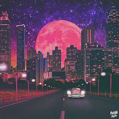Warm On A Cold Night - 그래픽 디자인, 일러스트레이션 Vaporwave, Night Illustration, Art Night, Pixel Art, Retro Waves, Album Design, Aesthetic Art, Aesthetic Wallpapers, Illustrations And Posters
