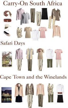 South Africa Safari: Carry on : Africa Safari is the ultimate bucket list trip, but packing space is at a premium. How to packing for Safari in a Carry On and still look good in Cape Town and the winelands – TravelingTulls South Africa Safari, East Africa, Rhino Africa, Safari Outfits, Safari Clothes, African Holidays, Travel Wear, Travel Packing, Travel Style