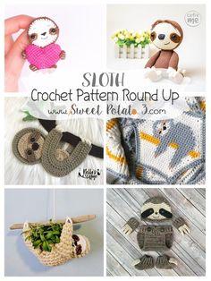 Sloth Crochet Pattern Round Up to Brighten Your Day ~ Sweet Potato 3 Crochet Sloth, Crochet Baby Toys, Crochet Humor, Cute Crochet, Crochet Yarn, Crochet Stitches, Kids Crochet, Crochet Animals, Easy Crochet