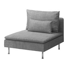 IKEA - SÖDERHAMN, One-seat section, Isunda grey, , The various sections of the seating series can be connected together in different combinations or used separately.SÖDERHAMN seating series allows you to sit deeply, low and softly with the loose back cushions for extra support.You sit in comfort with a slight, pleasant resilience thanks to the elastic weave in the bottom and high resilience foam in the seat cushions.310 GBP