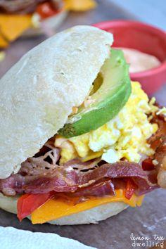 Loaded Egg & Cheese Sandwiches - great for breakfast, lunch, or dinner!   www.lemontreedwelling.com    #Sriracha  #BreakfastSandwich