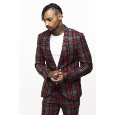 Noose and Monkey Cardamon Skinny Fit Tartan Suit Jacket Red With Gunmetal Chain