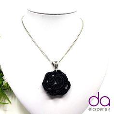 Rózsa nyaklánc – fekete | DombiAnita Ékszerek Crochet Necklace, Pendant Necklace, Jewelry, Jewlery, Crochet Collar, Bijoux, Schmuck, Jewerly, Jewels