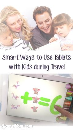 smart ways to use tablets with kids for family travel - thinking about using tablets with kids during travel, but concerned they spending too much time on screen? Kids don't have to play games or watch movies on tablets when travelling, there are many sim Fun Activities For Kids, Educational Activities, Learning Activities, Activity Ideas, Travel With Kids, Family Travel, Apps, Kids Health, Teaching Tips