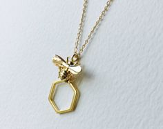 Bumble Bee and Honeycomb Necklace Honey Bee Necklace