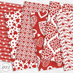 Digital Paper, Glitter Valentines Digital Paper, Sparkly Paper, Digital Glitter Background, Red Glitter, Scrapbook Paper Pack, Instant Download