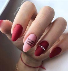 15 Stunning Red Manicure Almond Nails Art Design For Fashion Woman Page 3 of 15 Matt Nail Design Almond Nail Art, Almond Nails, Easter Nail Designs, Nail Art Designs, Nails Design, Nailed It, Red Manicure, Manicure Ideas, Uñas Fashion