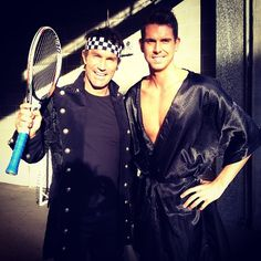 Pat Cash and Eamon Sullivan behind the scenes at A League Of Thier Own. Pat Cash, Tennis Racket, Behind The Scenes, Tv, Instagram Posts, Sports, Hs Sports, Television Set, Sport
