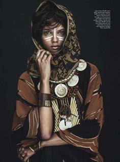 You love ethno fashion? You must take a look here: www. fashion editorials, shows, campaigns & more!: tomorrow's tribe: marina nery by sebastian kim for vogue australia april Moda Tribal, Tribal Mode, Tribal Style, Ethnic Fashion, African Fashion, Boho Fashion, Nomad Fashion, High Fashion, Ethnic Chic