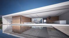 La piscine à débordement de cette maison d'architecte prestigieuse