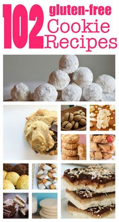 Get your cookie monster on with these 102 Gluten Free Cookie Recipes! Tons of ideas and recipes from chocolate chip to peanut butter madness! Sans Gluten Vegan, Dessert Sans Gluten, Bon Dessert, Dessert Party, Foods With Gluten, Dessert Recipes, Recipes Dinner, Gluten Free Deserts, Gluten Free Cookie Recipes