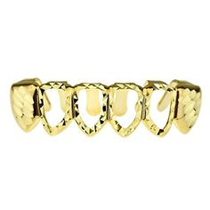 Diamond-Cut Grillz 14K Gold Plated 4 Open Face Bottom Lower Teeth Row Hip Hop Grills by Best Grillz -- Awesome products selected by Anna Churchill