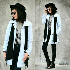 Kendall Kay - Forever 21 Black Hat, Round Sunglasses, Forever 21 Statement Choker, Powder Blue Coat, Forever 21 Striped Turtleneck, Standards & Practices High Waisted Denim, Forever 21 Black Lace Up Booties - .Fax Shadow.