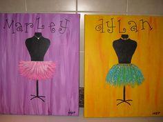TUTU DRESS FORM custom handpainted canvas art by grisgrisart, $50.00