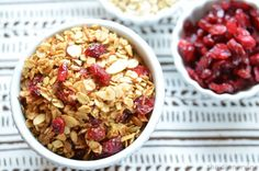 homemade granola, sweet & salty goodness of oats, almonds, cranberries & brown sugar.