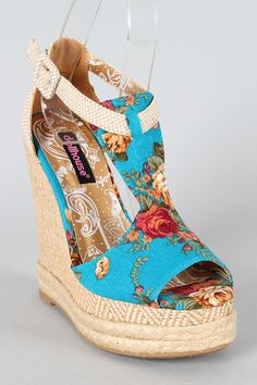 Dollhouse Fire Floral T-Strap Wedge