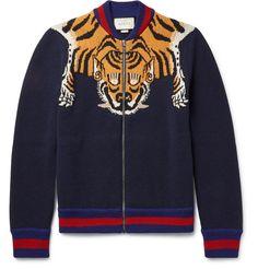 Gucci - Tiger-Intarsia Wool Zip-Up Cardigan