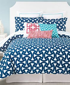 Trina Turk Bedding, Santorini Comforter and Duvet Cover Sets - Trina Turk - Bed & Bath - Macy's  navy blue with pink and turquoise pillows