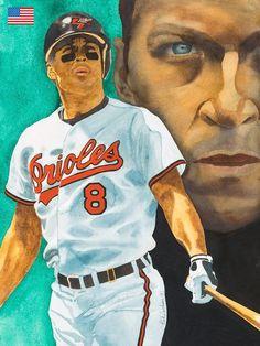 , watercolor by Rick Jackson Baseball Art, Room Pictures, Baltimore Orioles, Sports Art, Illustrators, Mlb, Jackson, Picture Ideas, Legends