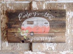 Vintage Glamper Hand Painted Camper Trailer by ShopSimplyShabby