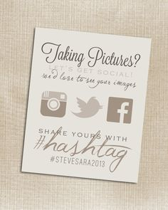 CUSTOMIZABLE - Wedding Instagram Facebook Twitter Beige Hashtag Print - Printable - Digital JPG File 8x10
