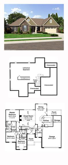 Country House Plan 98638 | Total Living Area: 1597 sq. ft., 3 bedrooms and 2 bathrooms. #countryhome