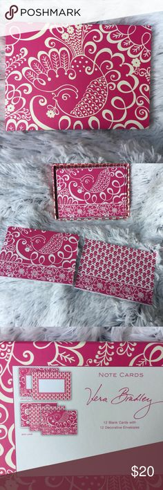 Vera Bradley Twirly Birds Pink Note Cards Full set with 12 cards and 12 envelopes Vera Bradley Accessories