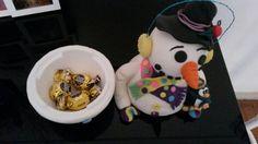 Porta bombons de biscuit# porcelana fria# boneco de neve
