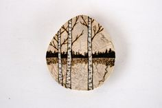 Lakeside Birch Trees -  Woodland Nature Art  - Original Woodburning Art on  Birch Wood Round