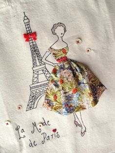 Paris 1950s Fashion Red Ladybird Eiffel Tower Retro Romantic Bag570 x 760 | 145.3KB | www.etsy.com