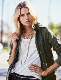 Layer on the gold necklaces. H&M. #ACCESSORIZEINHM.  Get the look with CAbi's Anorak jacket, resort tee!!