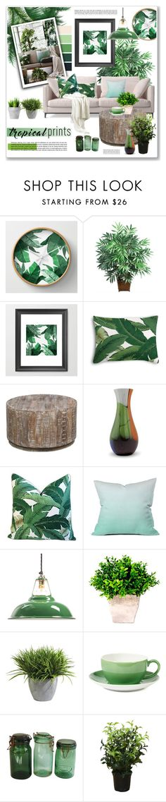 """tropical prints living room"" by nanawidia on Polyvore featuring interior, interiors, interior design, home, home decor, interior decorating, Nearly Natural, Kosas Collections, NOVICA and DENY Designs"